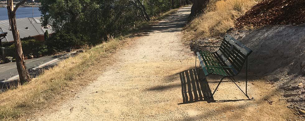 Bush track bench anchored into DirtGlue slab – no concrete!