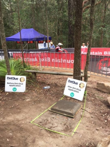 DirtGlue industrial green solution for  BMX tracks and mountain bike tracks surfaces